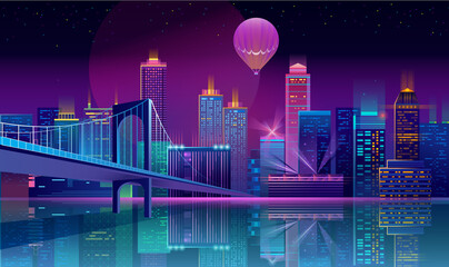 Vector background with night city in neon lights Fotomurales