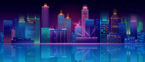 Vector neon megapolis background with buildings, skyscrapers Fotomurales
