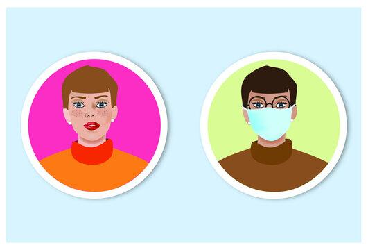 Icone studenti donne, mascherina
