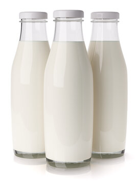 Three glass bottle with milk isolated on white background 3d