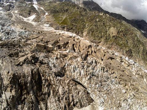 Aerial view of the glacier of Monte Rosa, above Macugnaga village in Piedmont, Italy