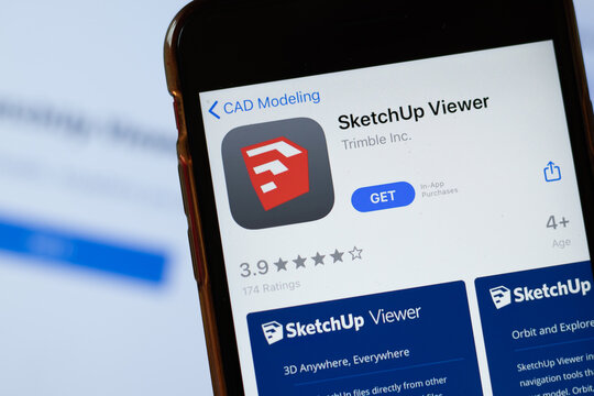 New York, USA - 15 May 2020: SketchUp Viewer mobile app logo on phone screen, close-up icon, Illustrative Editorial