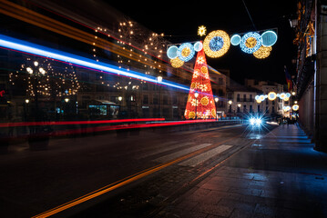 Christmas lights in the streets of the old town of Toledo city, Spain Fotomurales