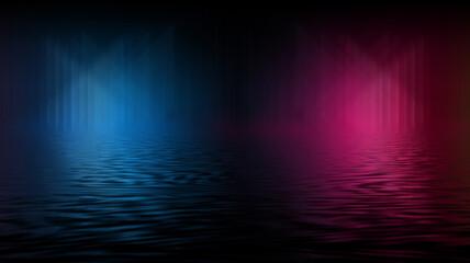 Empty futuristic dramatic scene. Abstract dark landscape, street. Neon light fluid element. Night view, neon blue light. Fantasy background. 3D illustration Fotomurales