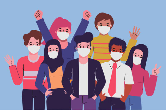 Group of people wearing a face mask animation pose.
