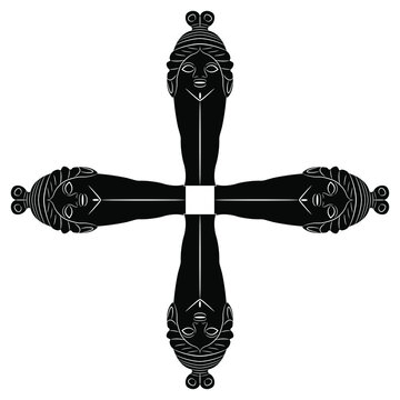 Square vintage decor. Cross made of four female figurine. Ancient Greek goddess Baubo. Black and white silhouette.