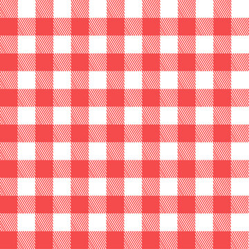 Red checkered tablecloths seamless pattern background.