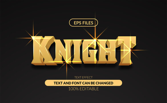 Classic strong golden 3d knight editable text effect eps file vector