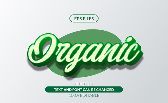 Fresh Organic green 3d editable text effect eps file vector