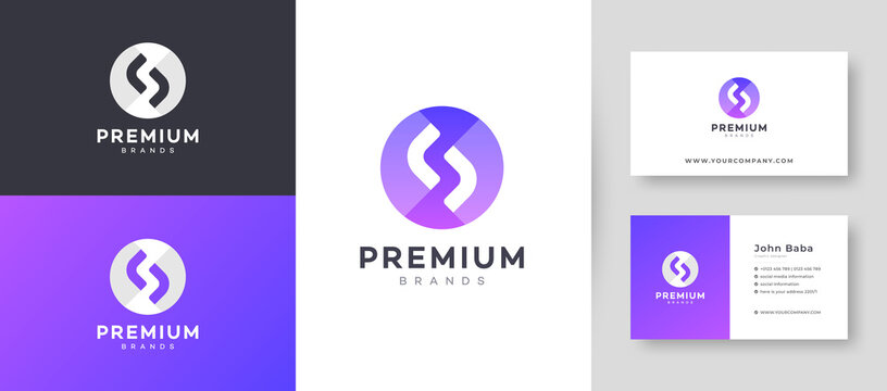 Flat & Minimal Initial S Letter Logo With Premium Business Card Design Vector Template for Your Company Business