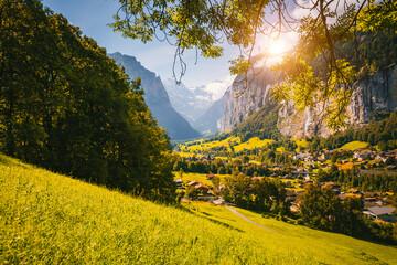 Wall Mural - Summer view of alpine valley Lauterbrunnen. Location place of Swiss alp, Switzerland, Europe.