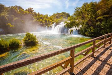 Wall Mural - Summer view of Skradinski buk most popular waterfall in Krka National Park.