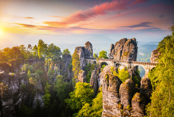 Wall Mural - Elbe Sandstone Mountains in the evening light. Location Saxon Switzerland national park.