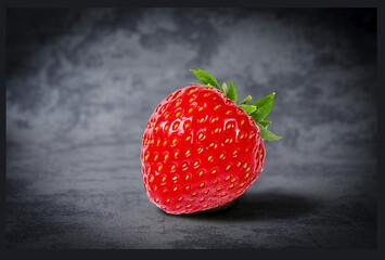 Fototapete - strawberry on black background