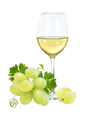 Fototapete - Fresh green grapes and a glass of wine isolated on white background