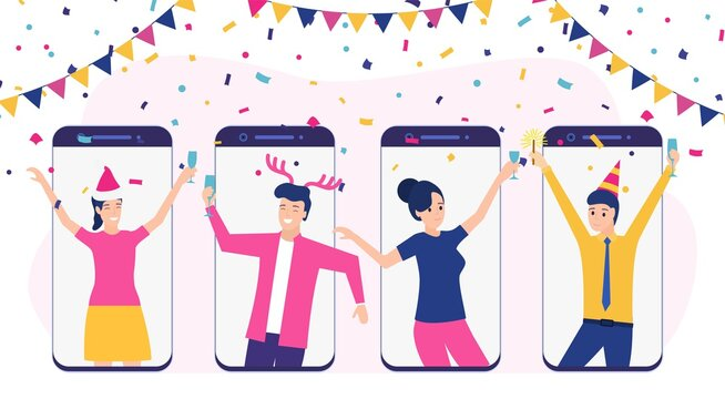Online party, birthday, meeting friends. People drink wine together in quarantine. Video chat. Birthday party web camera and online celebrating the new year. Vector illustration in flat style