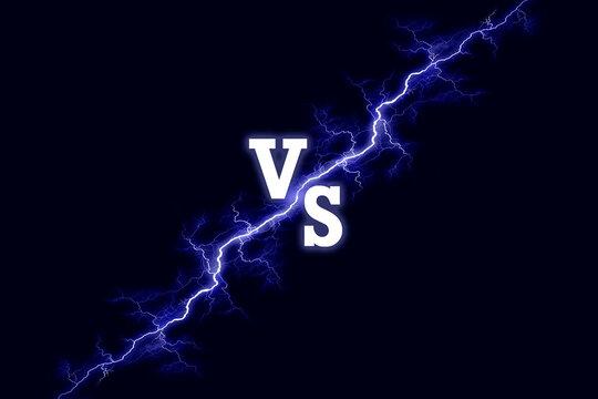 Versus vs background, Lightning bolt on dark background. Battle match, game concept competitive illustration
