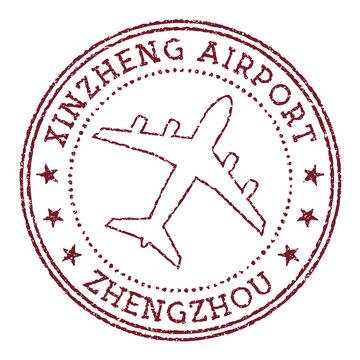 Xinzheng Airport Zhengzhou stamp. Airport of Zhengzhou round logo. Vector illustration.