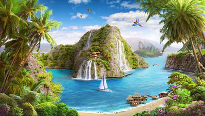 tropical island, lagoon with waterfalls, wallpaper digital murals, beach and yachts