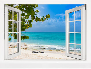view from open window tropical landscape with ocean