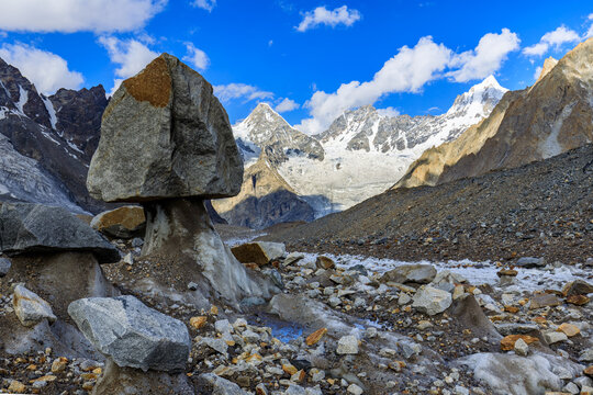 View to Masherbrum mountain - the highest summit is not visible - in the Karakorum mountains, Pakistan