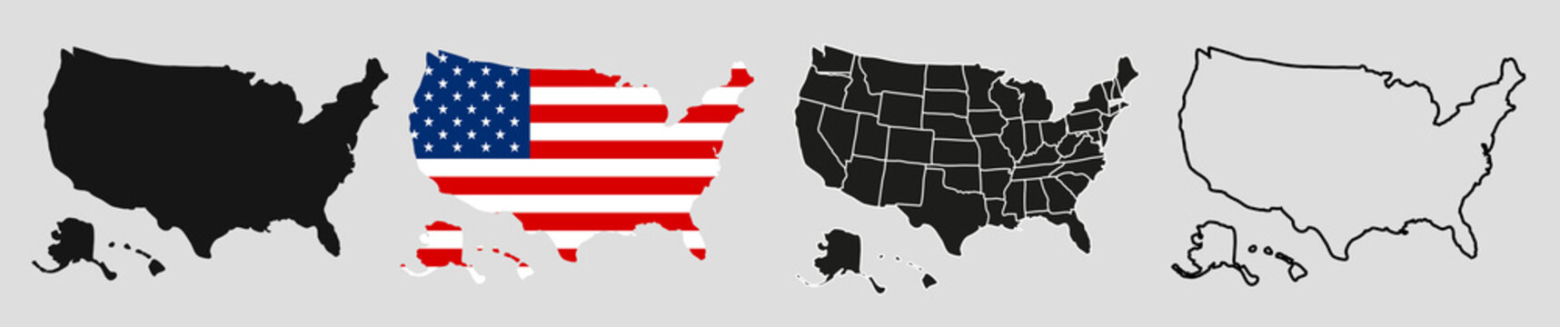 USA map with states. Vector illustration