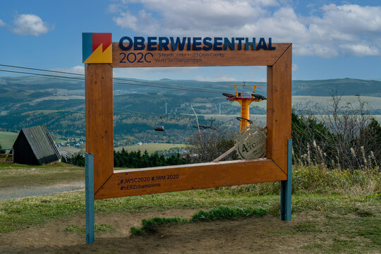 Fichtelberg, Saxony, Germany - october 22, 2020: View across the valley and Oberwiesenthal