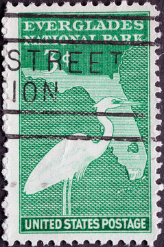 USA - Circa 1947 : a postage stamp printed in the US showing an outline of the state of Florida, highlighting the park area, and a great white heron