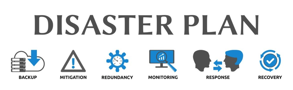 Disaster Plan. Banner mit Icons und Schlagwörtern. Backup, Mitigation, Redundancy, Monitoring, Response, Recovery. Isoliert freigestellt vor weißem Hintergrund.