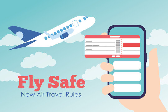 fly safe campaign lettering poster with ticket flight in smartphone and airplane flying