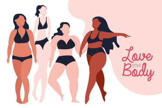 love your body lettering with group of girls perfectly imperfect