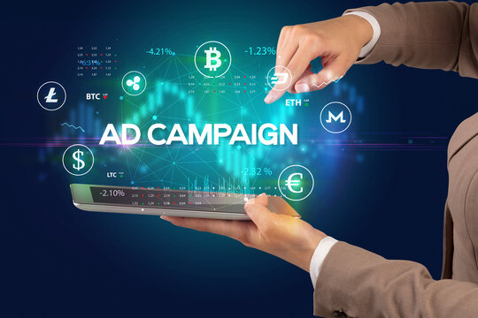Close-up of a touchscreen with AD CAMPAIGN inscription, business opportunity concept