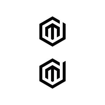 d m dm md initial logo design vector graphic idea creative
