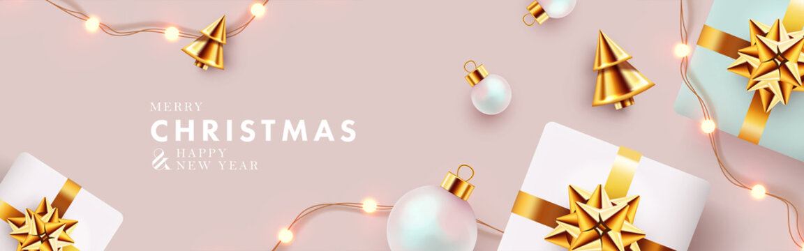 Christmas banner. Xmas background design with realistic gift boxes, golden conical Christmas trees, bauble balls, garland lights. Horizontal christmas poster, greeting card, header for website