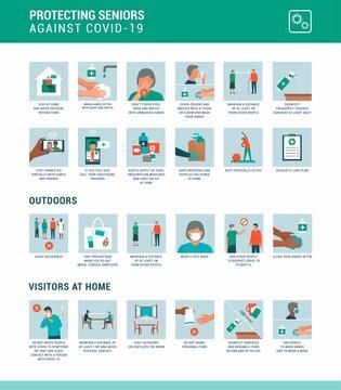 Protecting seniors against coronavirus covid-19 infographic
