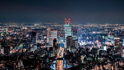 Fototapete - Night in Tokyo city, Japan