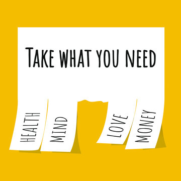 Take what you need. Vector stock illustration eps10. HEALTH. MIND. LOVE. MONEY