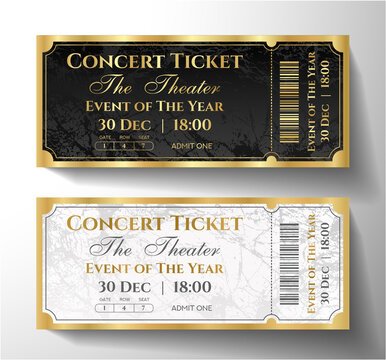 Premium black, gold, silver ticket template design. Luxury background with golden frame and abstract pattern. Useful for VIP invite on party, theater, event or entertainment show