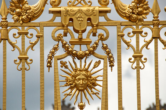 Embellished gate with Golden Sun for Louis XIV, the Sun King, Palace of Versailles, France