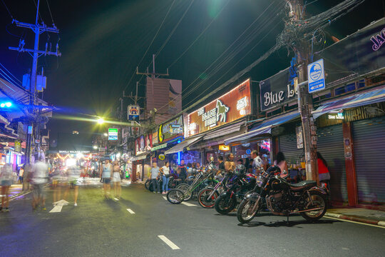 Phuket,Thailand - November 06,2020:During the time of the coronavirus outbreak, tourist destinations were sluggish. .The Walking Street at Soi Bangla, Patong, Phuket has encouraged tourism to return.