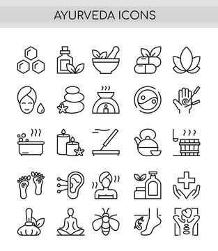 Ayurveda thin line icons set. Outline pictogram vector illustration, aroma therapy, ayurvedic collection with symbols of healthy alternative medicine,