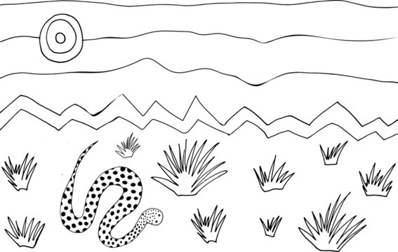 Cute coloring page with bitis snake in desert. Hand drawn coloring book with desert landscape and reptile.