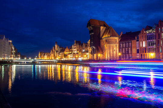 beautiful architecture of Old Town in Gdansk during evening Poland