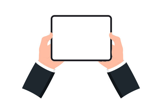 Hands holding black tablet with blank screen on white background. Human hand using digital tablet and finger touch screen. Template Mockup tablet pc with blank screen. Design for web site, mobile app