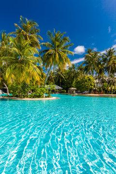 Beautiful summer beach paradise with sandy beach and villas