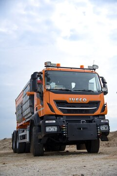 Iveco truck in the sandpit. Stralis 420 in communal version. 10-26-2018, South Moravia, Czech Republic.