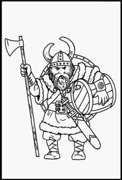 Viking with ax for coloring. Vector template for children.