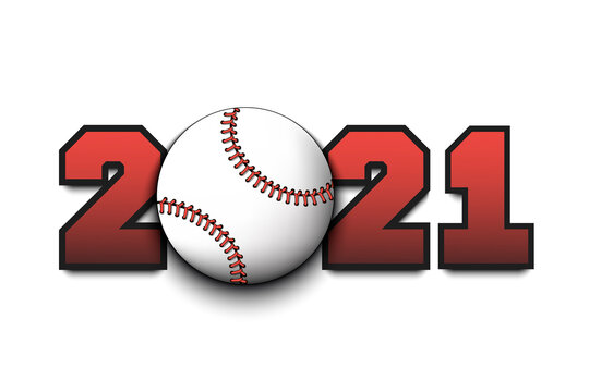 New Year numbers 2021 and baseball ball on an isolated background. Creative design pattern for greeting card, banner, poster, flyer, party invitation, calendar. Vector illustration