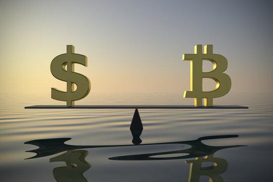 Exchange rate between US Dollar and Bitcoin 3d rendering.