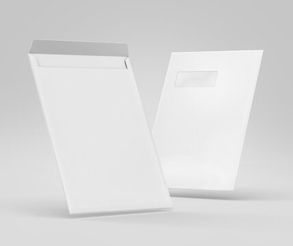 Realistic White Envelope C4/A4 mockup, Blank letter paper, c4 a4 c3 a3 template 3d Rendering isolated on light gray background